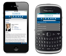 Torys' mobile site